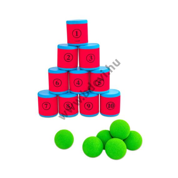 Dobozos célbalövő játék 10 doboz + 6 labda
