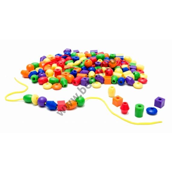 100 db-os műanyag gyöngyfűző készlet fonallal