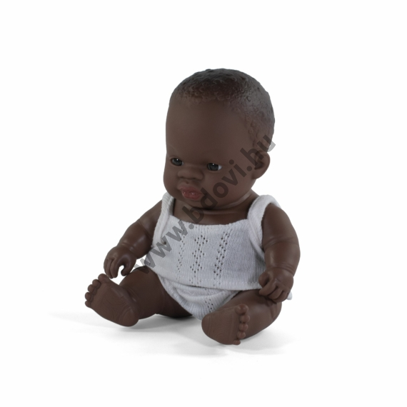 Baba, 21 cm, ruha nélkül, afrikai fiú