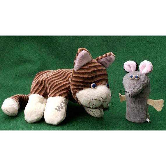 Ötujjas báb: csíkos cica - gyerek kézre