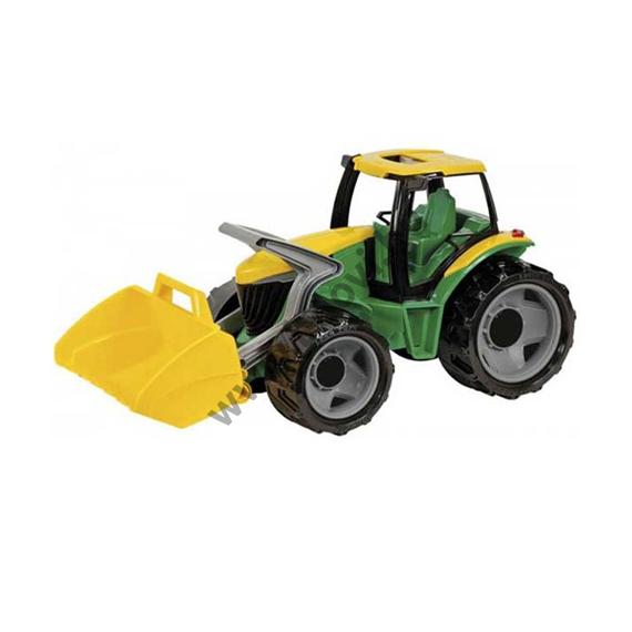 Óriás traktor homokrakodóval sárga/zöld 62 cm