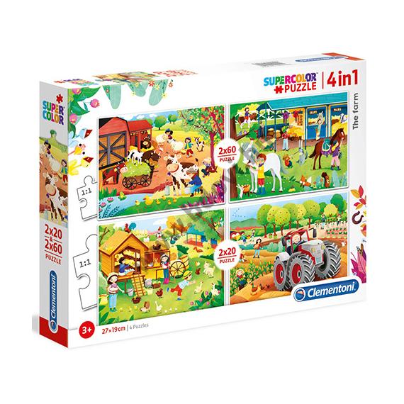 4 az 1-ben puzzle 2 x 20 db-os és 2 x 60 db-os - farm