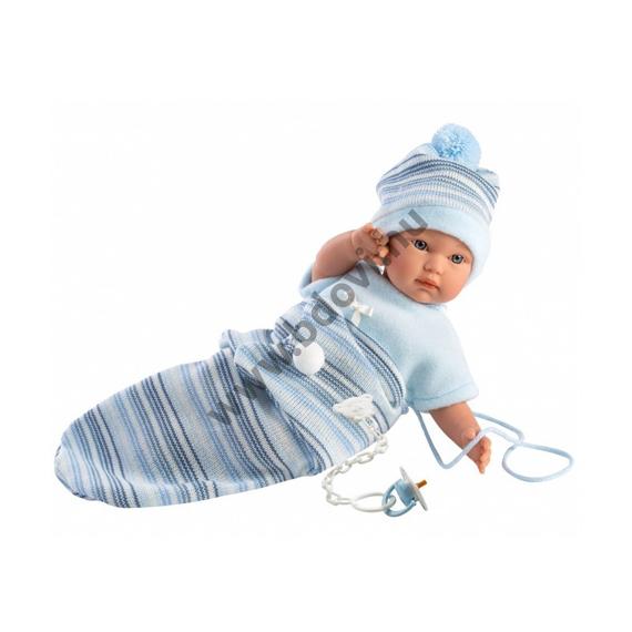 Cuquito 30 cm-es síró baba hálózsákban