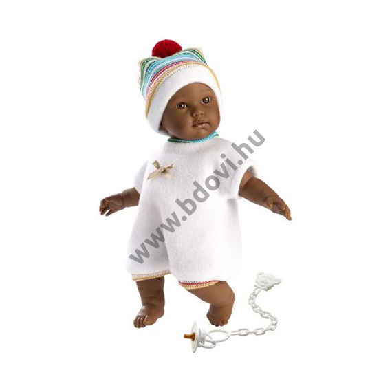 Cuqui 30 cm-es síró néger baba színes sapival