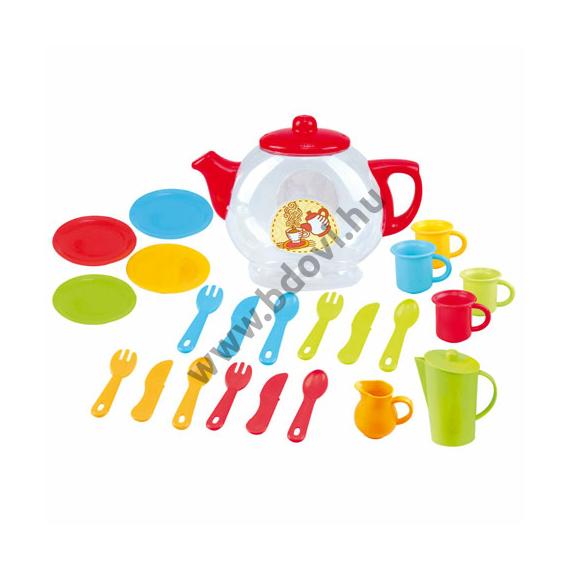 Színes teázó készlet teáskannával és kiegészítőkkel