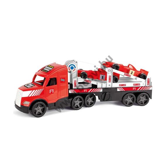 Forma 1 versenyautókat szállító kamion fluoreszkáló lámpákkal 81 cm