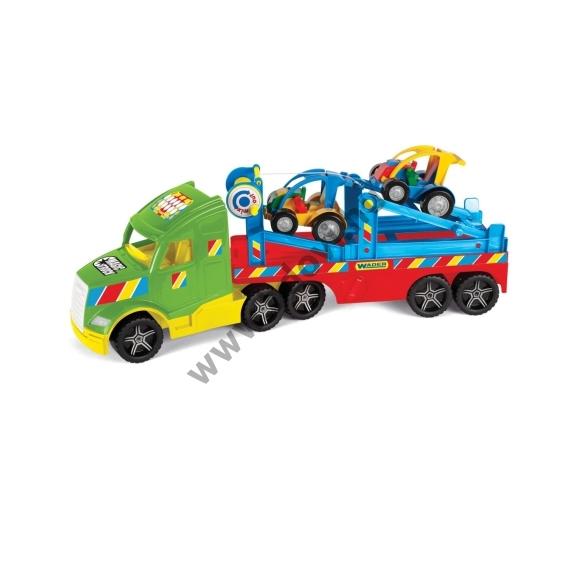 Kamion buggy szállító utánfutóval és fénnyel 80 cm-es