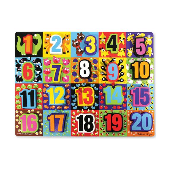 Számok formaillesztő óriás fa puzzle
