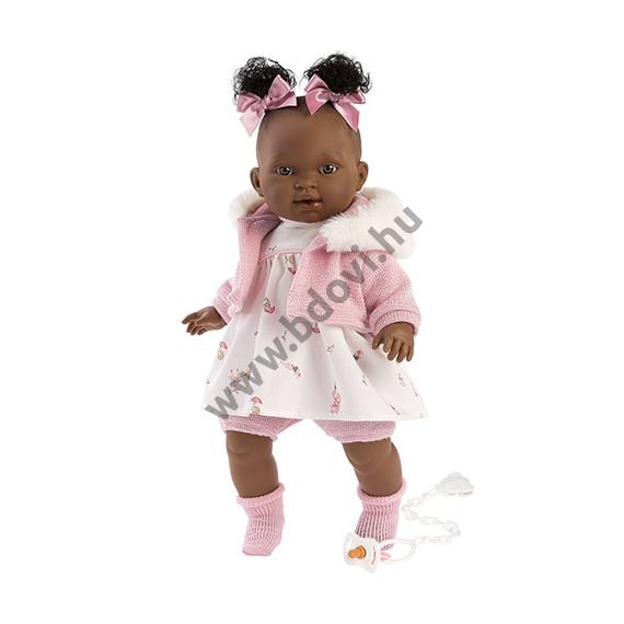Diara 38 cm-es síró baba rózsaszín ruhában