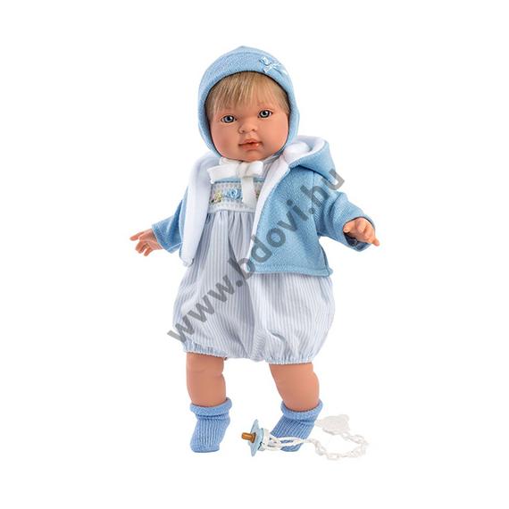 Miguel 42 cm-es síró baba kék ruhában