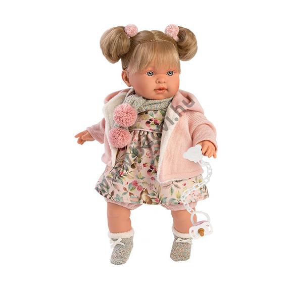 Alexandra 42 cm-es síró baba virágos ruhában