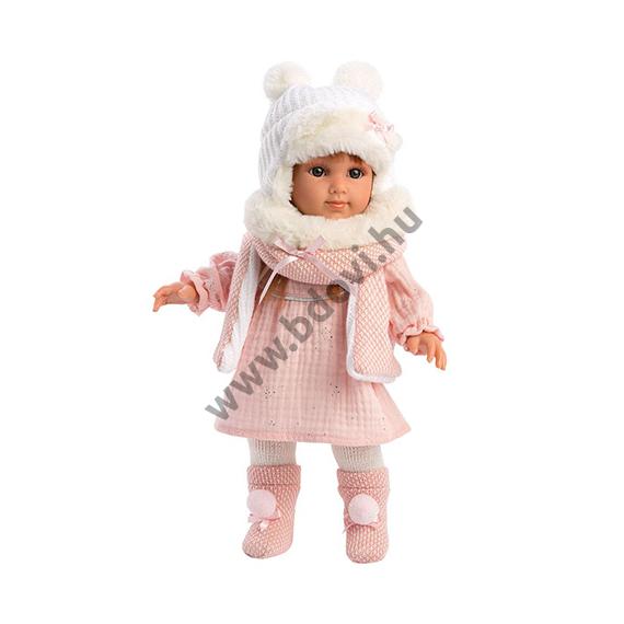 Nicole 35 cm-es baba rózsaszín ruhában