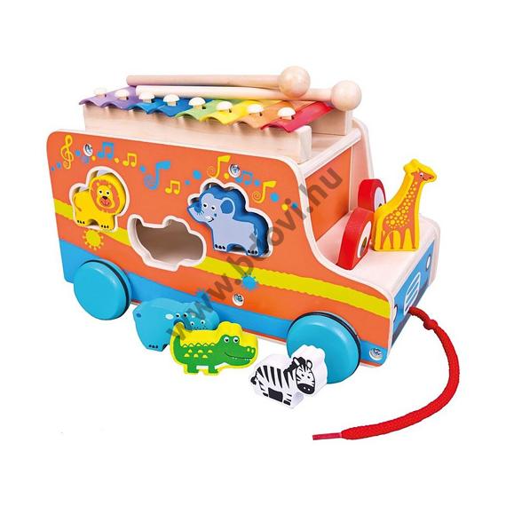 Fa húzható autó állatos formaberakóval és xilofonnal