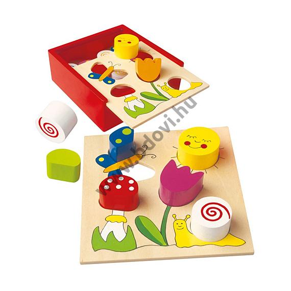 Színes fa formaillesztő játék dobozban