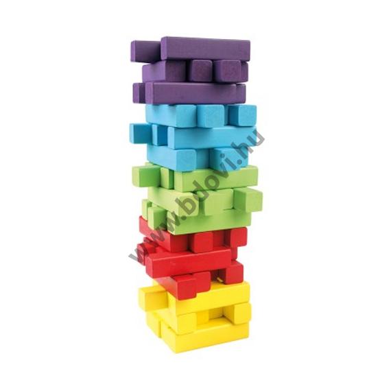 Jenga 60db-os színes fa toronyépítő készlet